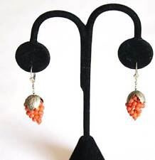 Vintage Victorian Yellow Gold Filled Pierced Wire Earrings Coral Cluster Grapes