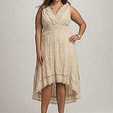DRESSBARN LACE HIGH LOW V-NECK DRESS 16 *SAND* NEW!