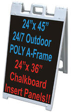 """25""""x45"""" ALL WEATHER Poly Plastic A-FRAME Sign + 2 Chalkboard Panels LIQUID CHALK"""