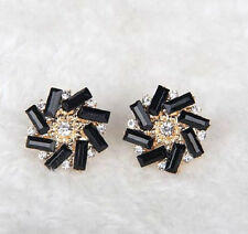 ROUND BLACK CRYSTAL FLOWER STUD EARRINGS