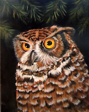Aceo Great horned owl  print of original painting