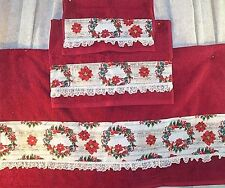 Home Decor' Towel Bath Poinsettias Wreaths Red Set 3 Pcs Holiday Christmas NEW