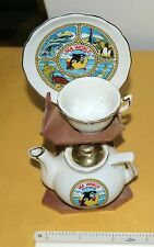 Sea World Porcelain Collector set of Plate, Cup, Teapot, and Wooden stand RARE