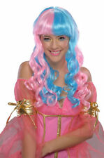 Pink Blue Cotton Candy Fairy Long Wavy Hair Wig Adult Womens Costume Accessory