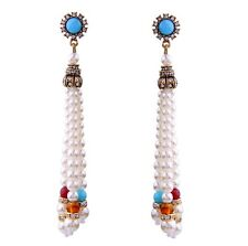 WHITE PEARL BEAD GLASS RHINESTONE Gold Designer Chandelier Tassel Drop Earrings