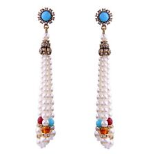 WHITE PEARL BEAD GRIPOIX CRYSTAL RHINESTONE Gold Chandelier Tassel Drop Earrings