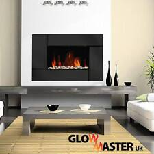 WALL MOUNTED ELECTRIC FIREPLACE BLACK TEMPERED GLASS FLICKER FLAME FIRE HEATER