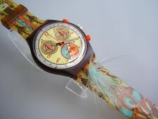 DANCING FEATHERS! Stunning Swatch CHRONO with Glow Hands & Feather Band-NIB!