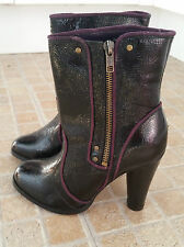 ATMOSPHERE Black Purple Zip Up High Cuban Heel Ankle Boots Size 3 NWOB