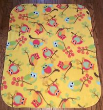 "OWL PRINT Kids or Baby size Fleece Blanket 35 1/2"" X 28 1/2"" Cute!!!"