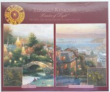 CEACO® 2 Pack 500pc SUNSET GLOW • THOMAS KINKADE #3 Jig Saw Puzzle GLOWS IN DARK