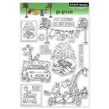 PENNY BLACK RUBBER STAMPS CLEAR GO GREEN SAVE THE EARTH STAMP SET