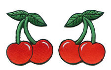 Double Cherry Punk Rockabilly Embroidered Iron on Patch