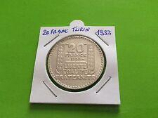 1 pièce en argent de 20 F Turin  Sup France  1933