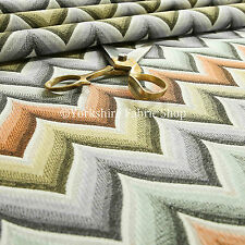 New Geometric Chevron Colourful Vibrant Woven Quality Upholstery Chenille Fabric