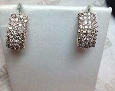 Pair 14k tt 72 Diamond 4 Row Waterfall Omega Back Earrings 1.44 tw K-I1-2