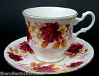 Royal Kent Summer Rose - Red Roses Pattern Coffee Cups & Saucers Look in VGC