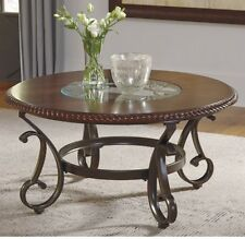 Round Coffee Table Wood Glass Top Scrolled Metal Accent Cocktail Living Room