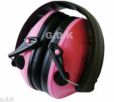 GDK PINK EAR DEFENDERS, ELECTRONIC EAR MUFFS, EAR PROTECTION, SHOOTING EAR MUFF