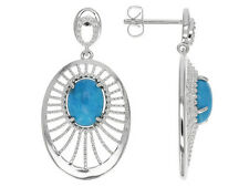 Tehya Oyama Oval Sleeping Beauty Turquoise Sterling Silver Over Brass Earrings