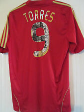 Spain 2008-2009 Home Torres 9 Football Shirt Size  Large /40568