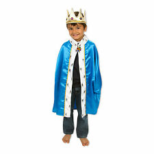Kids Boys King Cape & Crown Fancy Dress Costume (Blue) 3-8 Years - Slimy Toad