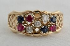VINTAGE 14K YELLOW GOLD DIAMOND SAPPHIRE RUBY PATRIOTIC CLUSTER RING SZ 7.75