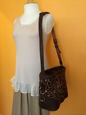 Vintage Felisi Ann Taylor Leopard Leather Handbag Shoulder Bag Purse
