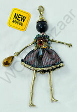 French Doll Necklace Green Pink Black Blue Gold Diamond Swarovski Crystal Semi