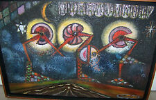 FUNKY MOD ABSTRACT RED PECKERS MIXED MEDIA PAINTING WF WETTLAUFER ROCHESTER NY