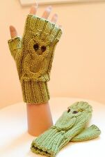 Original Knitting Pattern for Owl Fingerless Gloves (0038)-Sizes Teens-Adults
