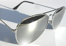 AVIATOR GLASS LENS FULL MIRROR SUNGLASSES CHROME SILVER REAL 70s RETRO CLASSIC