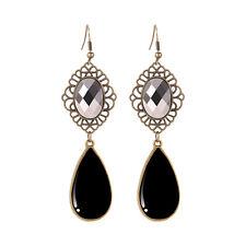 New Antique Bronze Elegant Women Black Drop Dangle Flower Earrings Jewelry