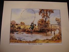 Thelwell's Humourous Mounted Fishing Print - The Compleat Tangler