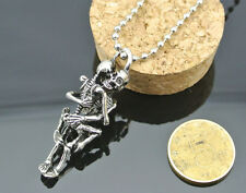 Fashion Men Tibet Silver Black Stainless Steel Skull Pendant Chain Necklace DICA