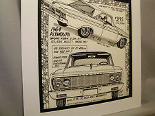 1964 Plymouth Sport Fury Auto Pen Ink Hand Drawn  Poster Automotive Museum