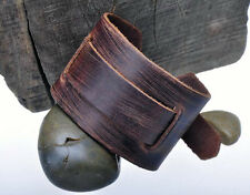 Men's Soft & Thick Wide Genuine Leather Wrap-Around Bracelet Wristband Brown
