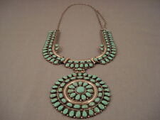 HUGE VINTAGE ZUNI/ NAVAJO GREEN TURQUOISE TEARS OF JOY SILVER NECKLACE