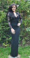 Ladies Long Maxi Goth Morticia Black Stretch Lace Evening Party Dress New 6 - 20