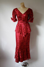Vintage Prom Dress  Burgundy Red Lace & Bows Cocktail Dress 1980's Maxi Dress S
