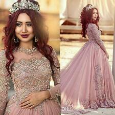 Long Sleeves Princess Muslim Pink Formal Evening Gowns Lace Women Party Dresses
