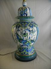 Great Lg. Mid Century signed Marbo Italian Art Pottery Lamp w/ Orig. Shade
