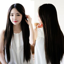 Heat Resistant Womens Lady Long Straight Hair Full Wig Halloween Party Black Wig