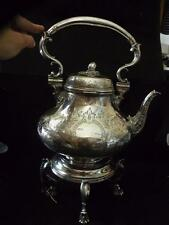 ANTIQUE ENGLISH SILVER PLATE KETTLE ON STAND ELKINGTON & CO silverplate