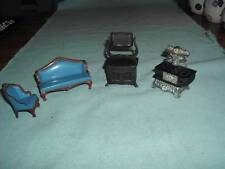 4 Vintage Metal Miniature Doll House Furniture Items 3 Mattel 1980 1 Durham 1976
