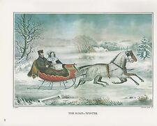 "1972 Vintage Currier & Ives ""THE ROAD, WINTER SLEIGH"" Color Print Lithograph"