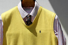 Polo Golf M Gentleman's Yellow Cotton V-Neck Sweater Vest