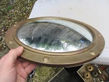 "Vintage Brass Porthole Mirror Rivets Ship Boat Look 1960-70's Old Retro   15.5""W"