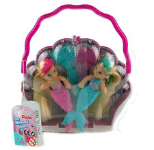 Evi Baby Twins Mermaid Mini Dolls In Seashell Carry Case