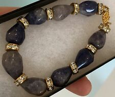 $245 Sapphire Bracelet Gemstone Beads 18kt Gold Vermeil Clasp 60 Crystals Luxury